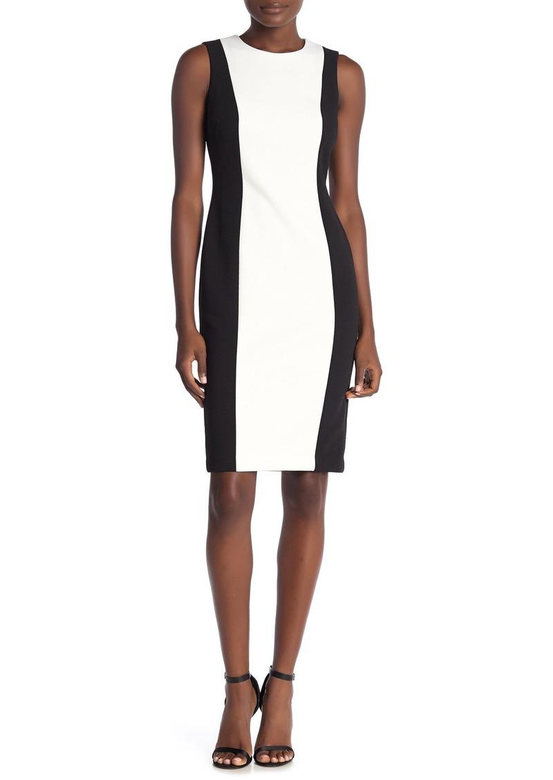 Calvin Klein Colorblock Sleeveless Crepe Sheath Dress