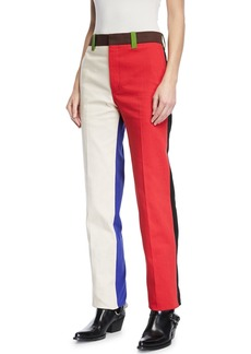 Calvin Klein Colorblock Straight-Leg Cotton Pants