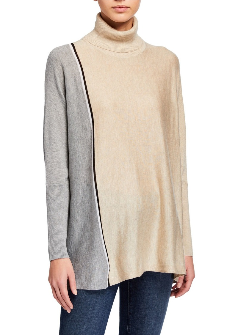 Calvin Klein Colorblock Turtleneck Poncho