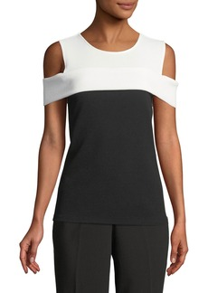 Calvin Klein Colorblocked Cold-Shoulder Top