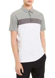 Calvin Klein Colorblocked Slub Interlock Short-Sleeve Cotton Polo