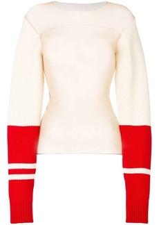 Calvin Klein contrast cuff sheer blouse