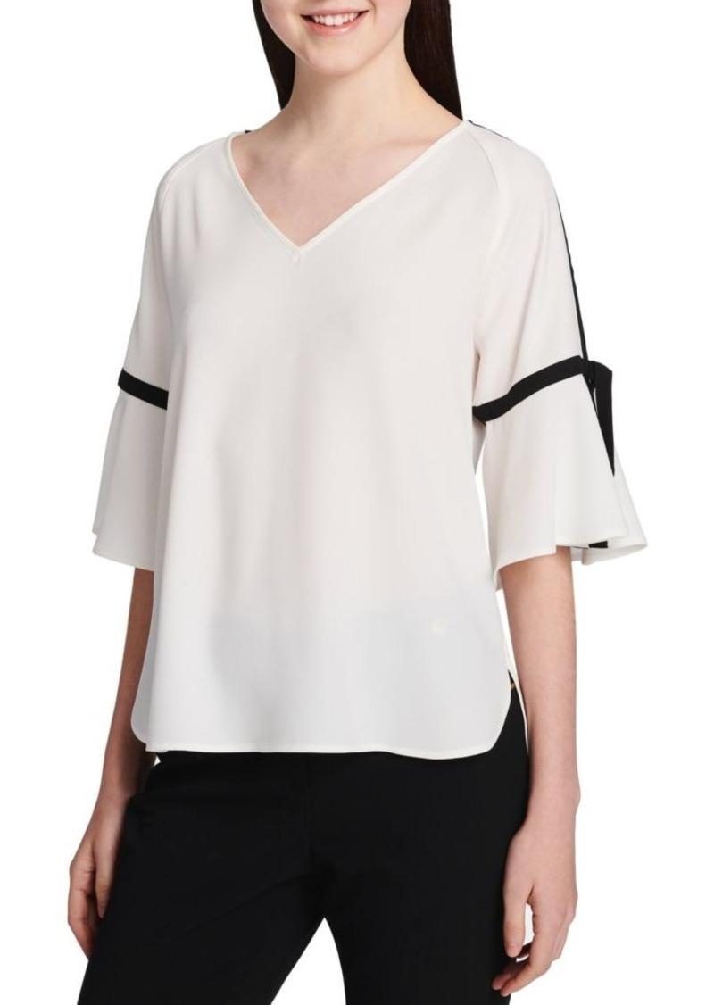Calvin Klein Contrast Trim Short-Sleeve Top