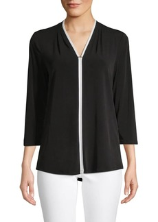 Calvin Klein Contrast-Trim V-Neck Top