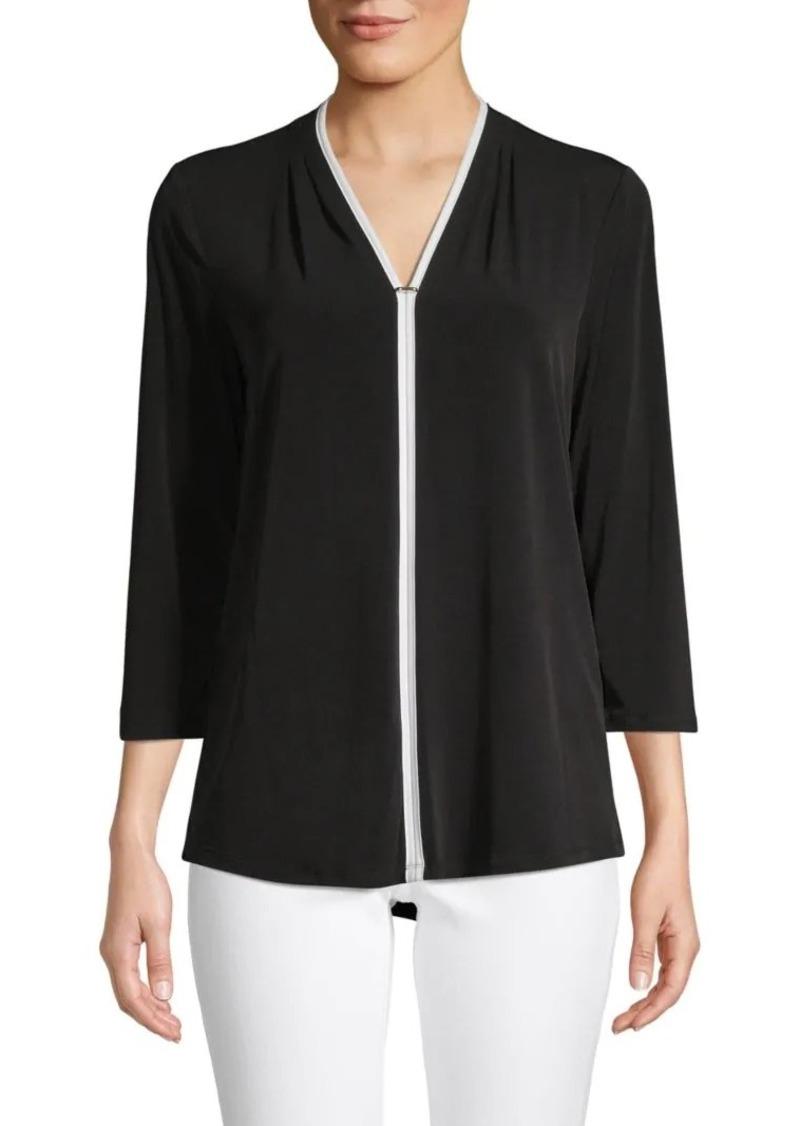 Calvin Klein Contrast-Trim V-Neck Top