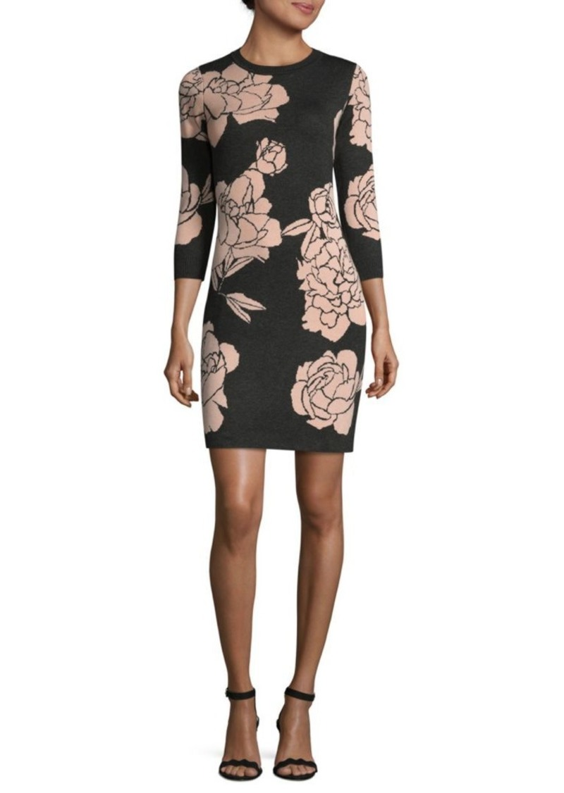 a4627450e58 Calvin Klein Contrasting Floral Print Sweater Dress
