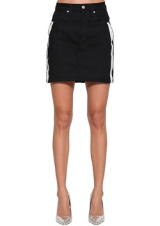 Calvin Klein Cotton Denim Mini Skirt W/ Side Bands