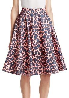 Calvin Klein Cotton-Stretch Leopard Print Skirt