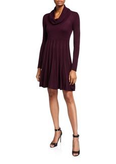 Calvin Klein Cowl Neck Fit-&-Flare Sweater Dress