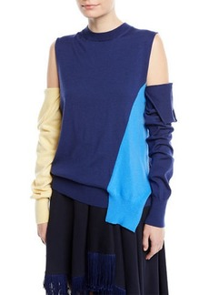 Calvin Klein Crewneck Cold-Shoulder Colorblock Knit Sweater w/ Removable Sleeves