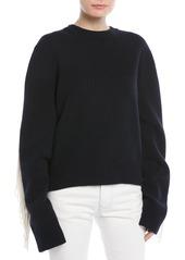 Calvin Klein Crewneck Long-Sleeve Virgin-Wool Sweater w/ Fringe Detail