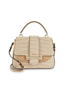 Calvin Klein Croc-Embossed Faux Leather Satchel