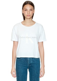 Calvin Klein Cropped Ck Logo Printed Cotton T-shirt
