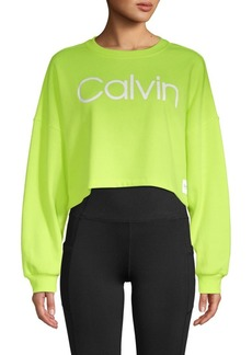 Calvin Klein Cropped Cotton-Blend Sweatshirt