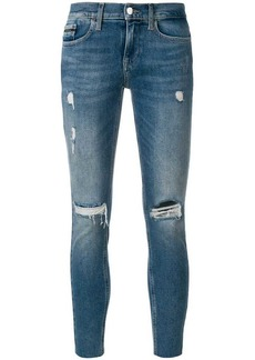 Calvin Klein cropped distressed jeans