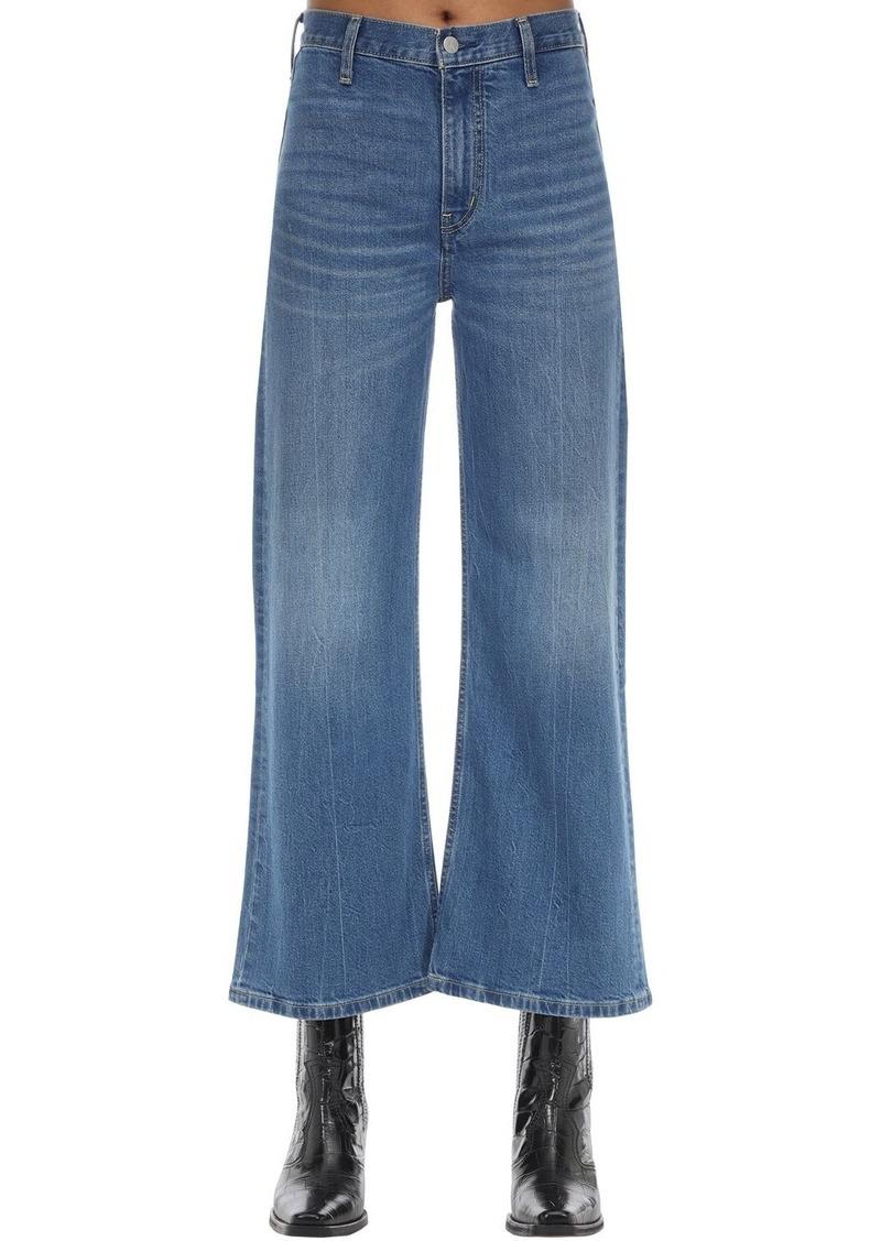 Calvin Klein Cropped Mid Rise Wide Leg Denim Jeans