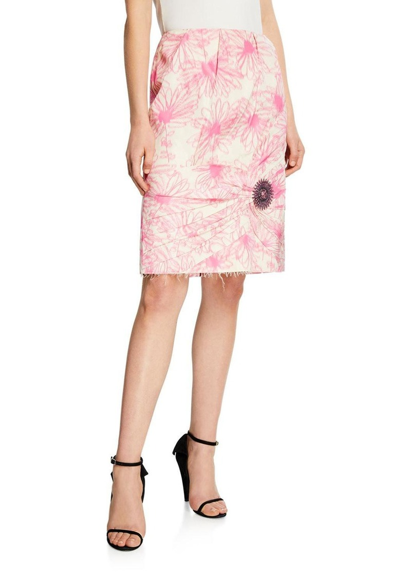 Calvin Klein Crushed Pencil Skirt with Crystal Embellishment