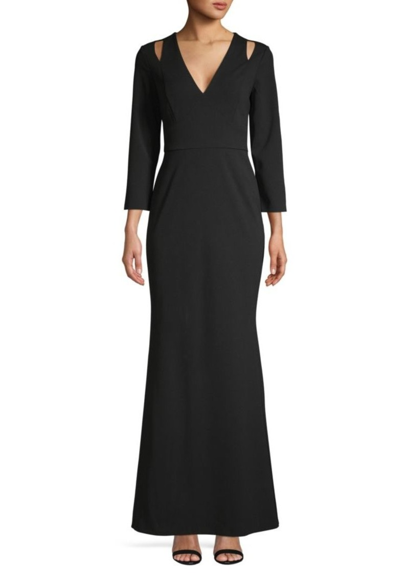 Calvin Klein Cut-Out V-Neck Gown