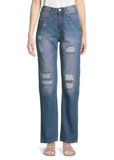 Calvin Klein Distressed High-Rise Wide-Leg Jeans