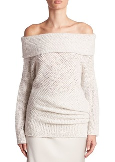 Calvin Klein Doodle Off-The-Shoulder Cashmere & Silk Tunic