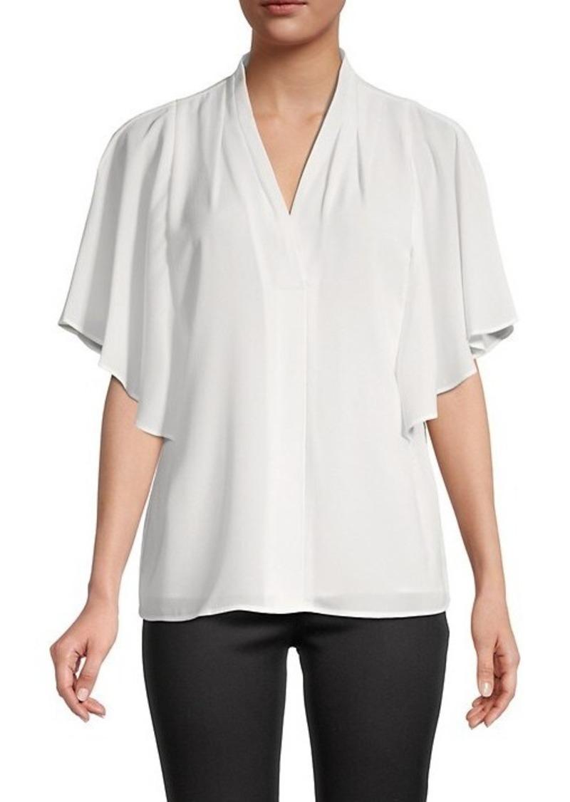 Calvin Klein Drape-Sleeve Flowy Top