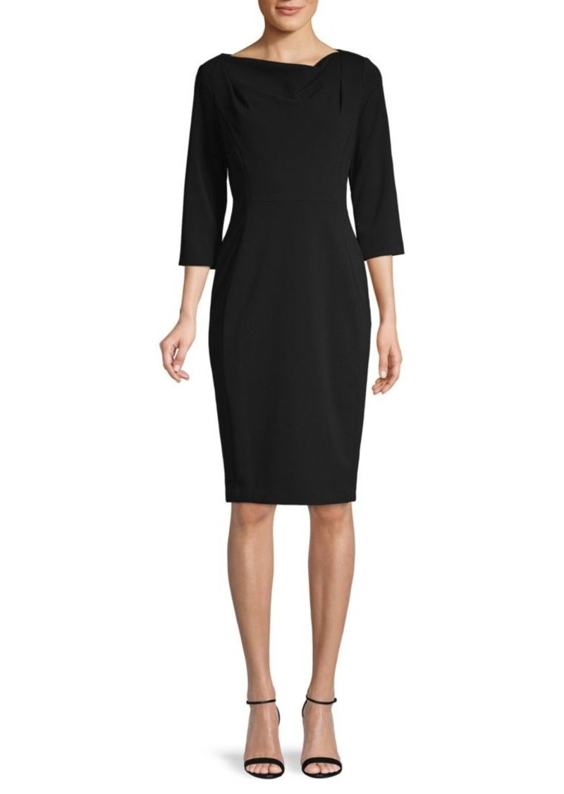 Calvin Klein Drape Three-Quarter Sleeve Sheath Dress