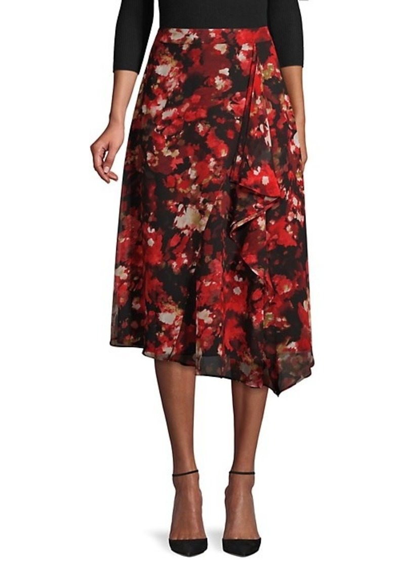 Calvin Klein Draped Floral Skirt