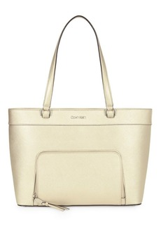 Calvin Klein East-West Zip-Pocket Leather Tote