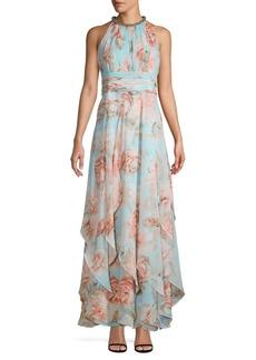 Calvin Klein Embellished Floral Halter Gown
