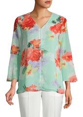 Calvin Klein Embellished Floral-Print Blouse