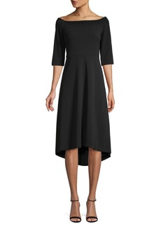 Calvin Klein Embellished Off-The-Shoulder High-Low Dress