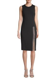 Calvin Klein Embellished Side-Slit Sheath Dress