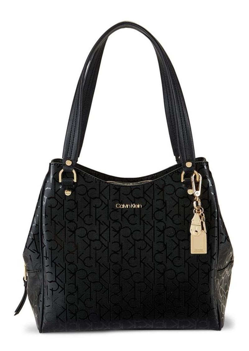 Calvin Klein Embossed Logo-Print Shoulder Bag