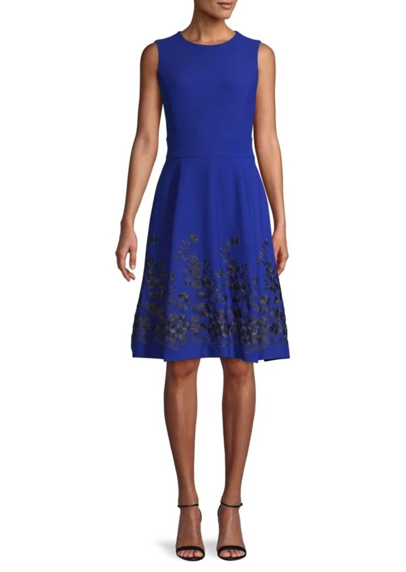 Calvin Klein Embroidered Floral A-Line Dress
