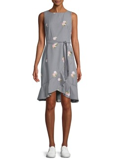 Calvin Klein Embroidered Gingham Tie Flounce Dress