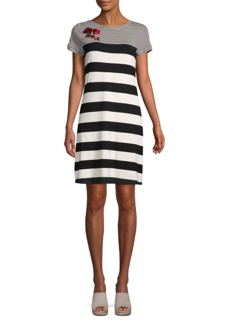 Calvin Klein Floral-Embroidered Striped Dress
