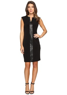 Calvin Klein Extended Shoulder Dress with Faux Leather & Chain