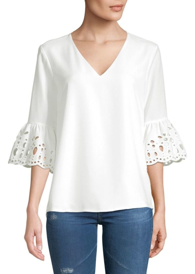 Calvin Klein Eyelet Bell-Sleeve Top
