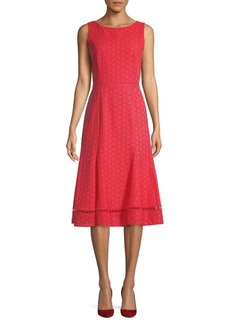 Calvin Klein Eyelet Embroidery Flare Dress