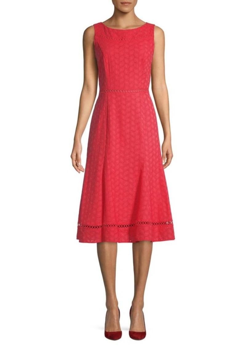 Calvin Klein Eyelet Embroidery Flare Dress