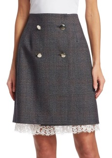 Calvin Klein Fancy Glen Check Wool Skirt