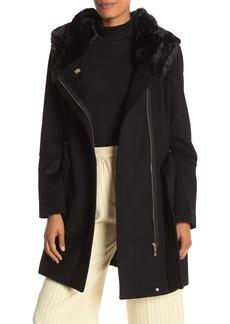 Calvin Klein Faux Fur Hooded Wool Blend Jacket