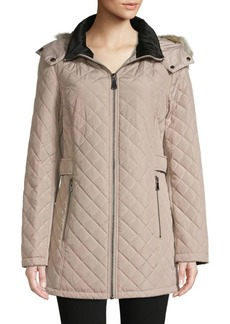 Calvin Klein Faux Fur-Trim Quilted Jacket