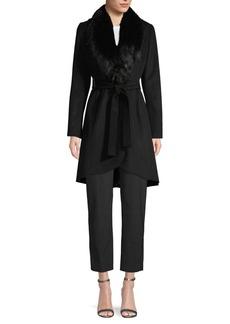 Calvin Klein Faux Fur-Trimmed Belted Coat