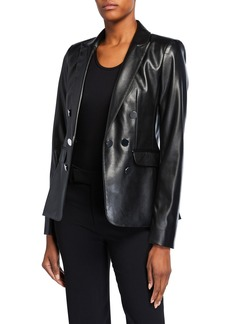Calvin Klein Faux-Leather 7-Button Blazer