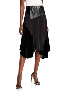 Calvin Klein Faux Leather Mixed Media Midi Skirt