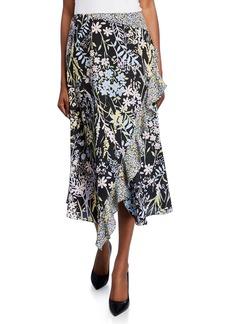 Calvin Klein Faux Wrap Floral Ruffle Midi Skirt