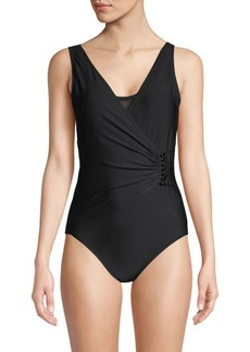 Calvin Klein Faux Wrap One-Piece Swimsuit