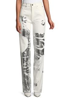 Calvin Klein Five-Pocket Straight-Leg Jeans w/ Andy Warhol Flower
