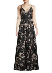 Calvin Klein Floral A-Line Gown